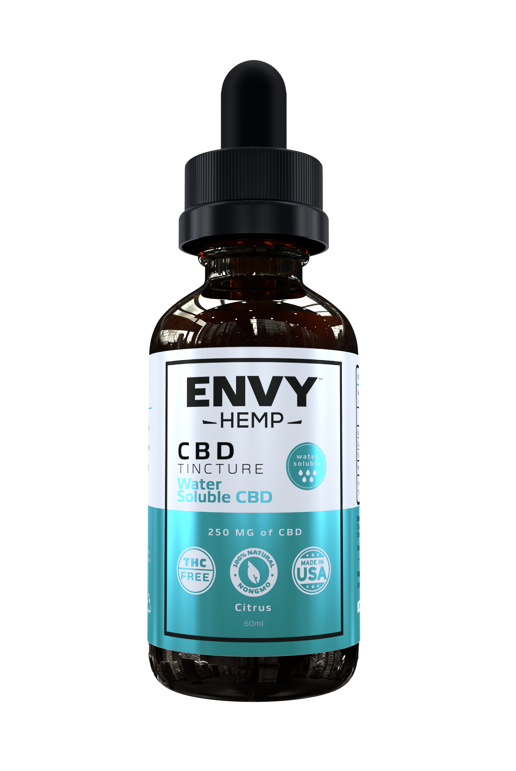 Envy Hemp, Water-Soluble Pure CBD Tincture With 250mg CBD (60mL)
