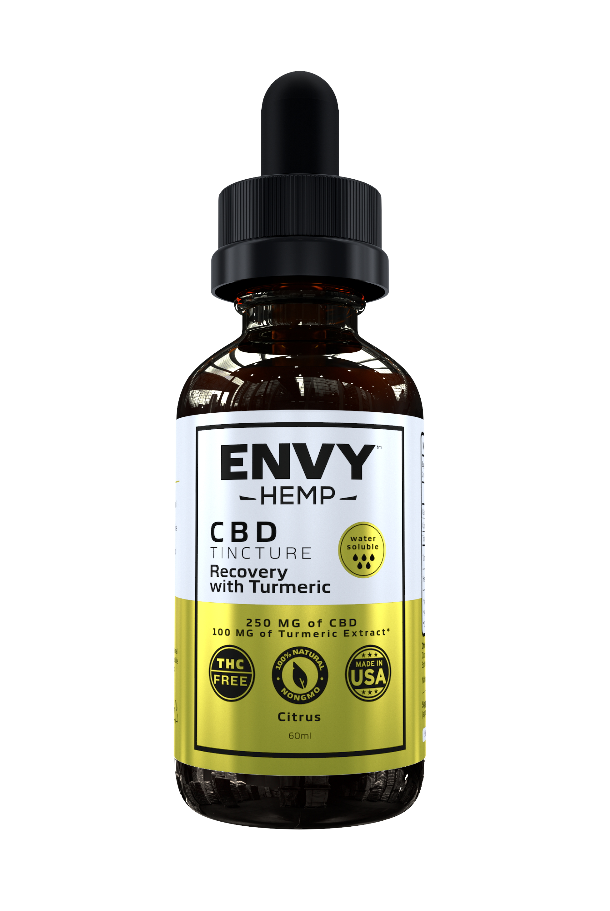 Envy Hemp, Water-Soluble Recovery Tincture With 250mg CBD (60mL)
