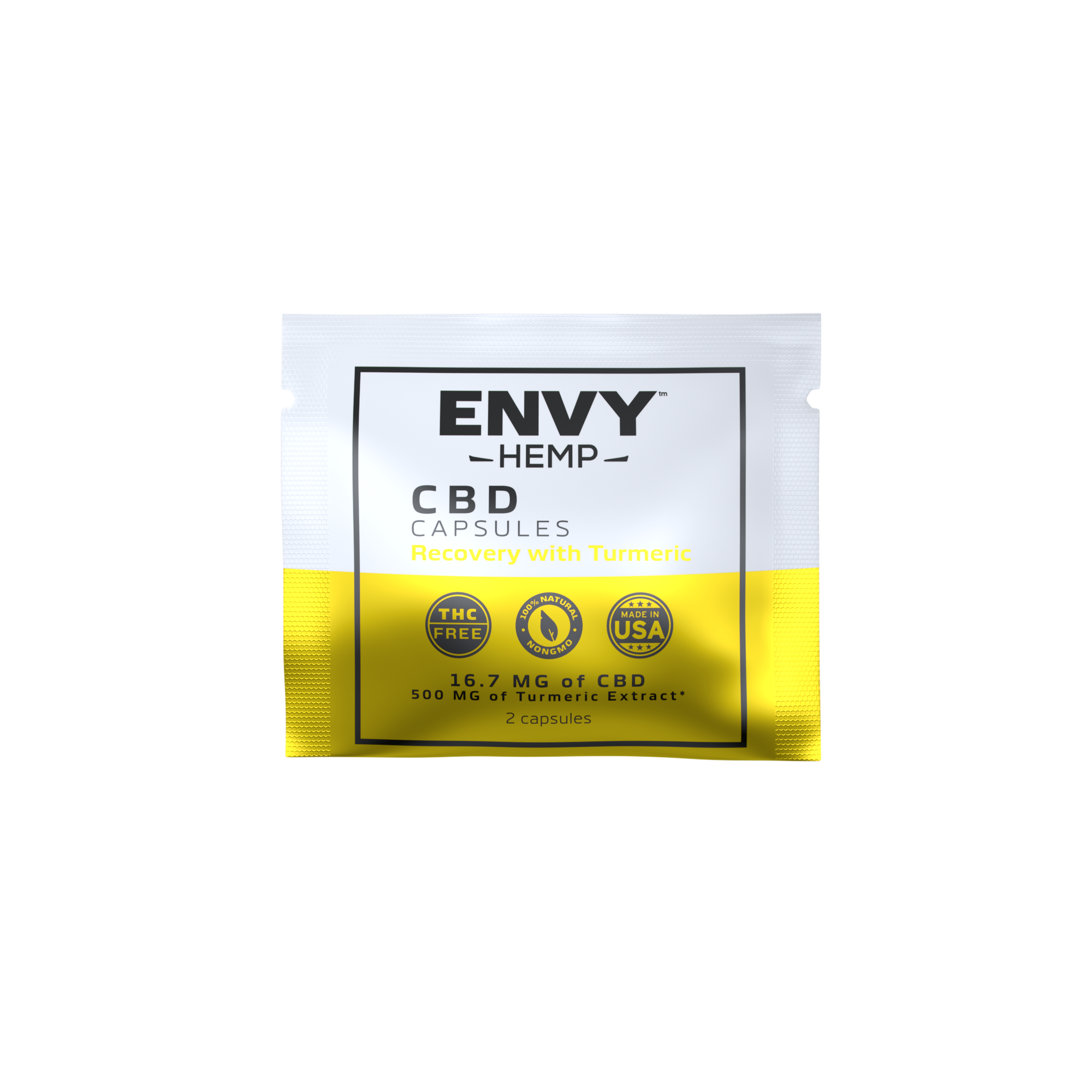 Envy Hemp, Recovery with Turmeric Capsules with 500mg CBD (30-day supply)