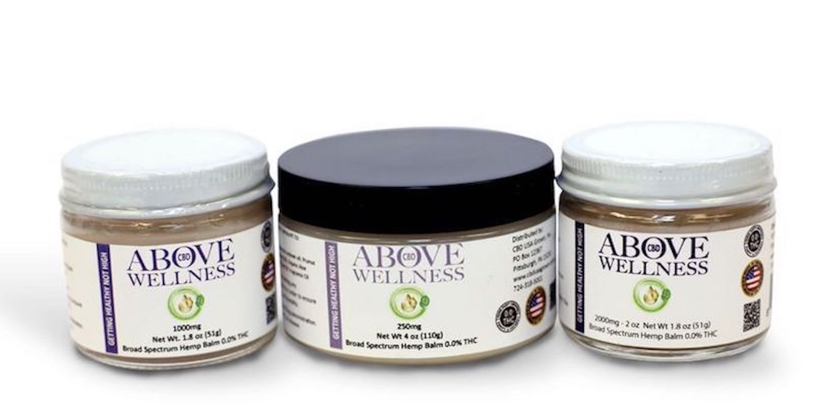 Above Wellness, 250mg Hemp Relief Balm (Black Lid)